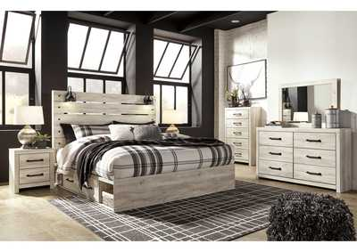 Image for Cambeck King Panel Bed with 4 Storage Drawers, Dresser and Mirror