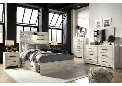 Cambeck Full Panel Bed with 2 Storage Drawers, Dresser and Mirror