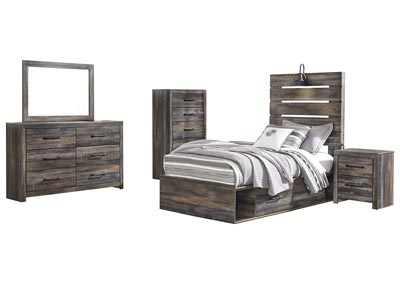 Drystan Twin Panel Bed with 2 Storage Drawers w/Dresser and Mirror