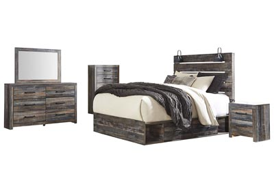 Drystan Queen Panel Bed with 2 Storage Drawers w/Dresser and Mirror