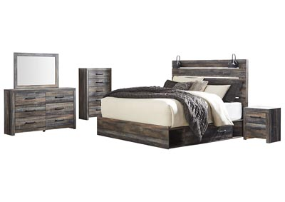 Image for Drystan King Panel Bed with 2 Storage Drawers w/Dresser and Mirror