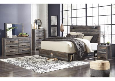 Drystan King Panel Bed with 2 Storage Drawers w/Dresser and Mirror,Signature Design By Ashley