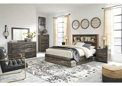 Image for Drystan Queen Bookcase Bed with 2 Storage Drawers w/Dresser and Mirror