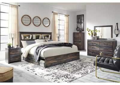 Image for Drystan King Bookcase Bed with 2 Storage Drawers w/Dresser and Mirror