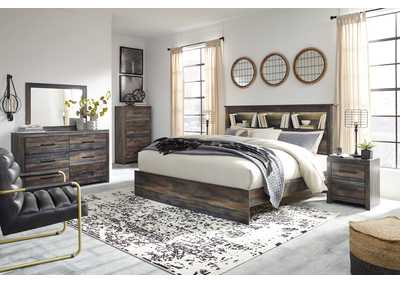 Image for Drystan King Panel Bookcase Bed w/Dresser and Mirror