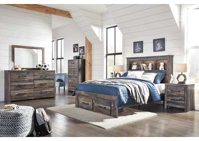 Image for Drystan Full Bookcase Bed with 2 Storage Drawers w/Dresser and Mirror