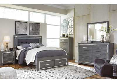 Lodanna Queen Panel Bed with 2 Storage Drawers, Dresser and Mirror
