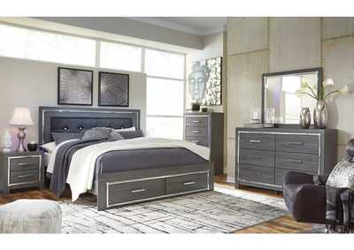 Lodanna Gray Full Storage Bed w/Dresser & Mirror