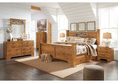 Image for Bittersweet Light Brown King Poster Storage Bed w/Dresser & Mirror