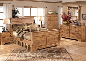 Image for Bittersweet King Sleigh Bed w/Dresser, Mirror & Drawer Chest