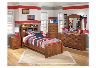 Barchan Twin Bookcase Bed, Dresser & Mirror