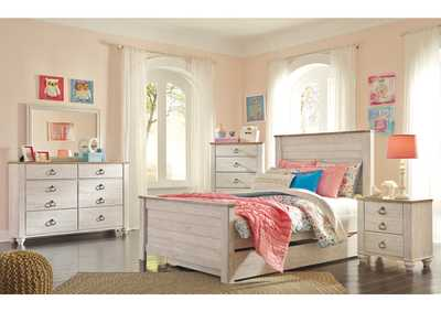 Image for Willowton Whitewash Full Panel Storage Bed w/Dresser & Mirror