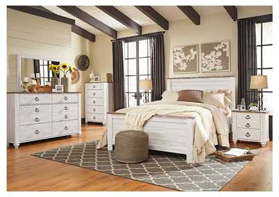 Image for Willowton Whitewash Queen Panel Bed w/Dresser & Mirror