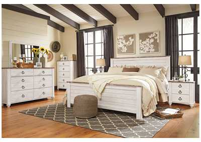 Image for Willowton Whitewash King Panel Bed w/Dresser & Mirror