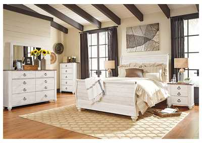 Image for Willowton Whitewash Queen Sleigh Bed w/Dresser & Mirror