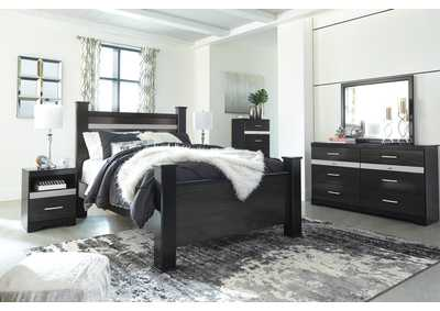 Starberry Black Queen Poster Bed and Dresser w/Mirror,Signature Design By Ashley