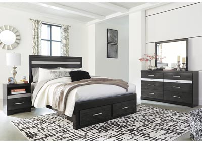 Starberry Black Queen Storage Bed and Dresser w/Mirror