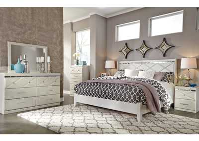 Image for Dreamur Champagne King Panel Bed w/ Dresser, Mirror, Drawer Chest & Nightstand