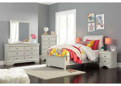 Jorstad Gray Upholstered Sleigh Twin Bed w/Dresser & Mirror