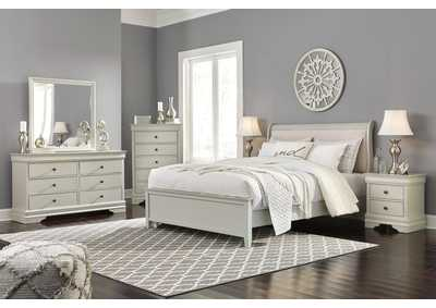 Jorstad Gray Upholstered Sleigh Queen Bed w/Dresser & Mirror