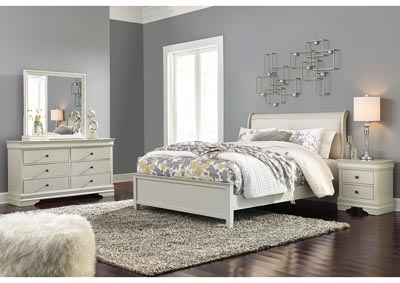Jorstad Gray Upholstered Sleigh Queen Bed w/Dresser & Mirror,Signature Design By Ashley