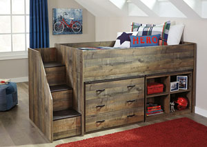 Image for Trinell Brown Twin Loft Bed w/Left Storage Steps, Bookcase and Drawer Storage