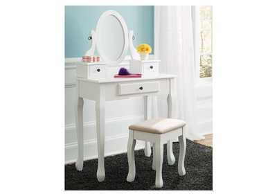 Image for Kaslyn White Vanity w/Mirror & Stool