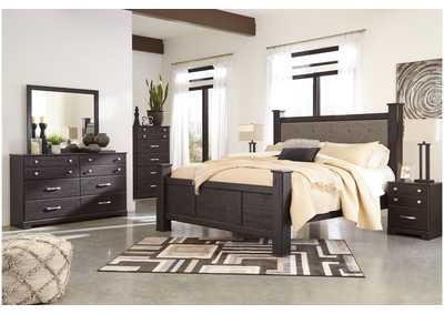 Reylow Dark Brown Queen Bed Set w/Queen Upholstered Poster Bed and Dresser w/Mirror