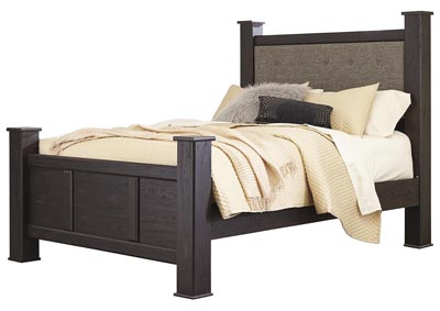 Reylow Dark Brown Queen Upholstered Poster Bed