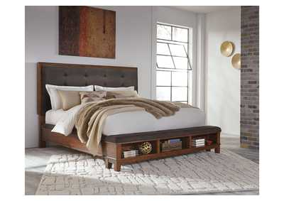 Ralene Medium Brown California King Upholstered Storage Bed