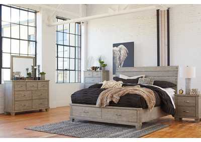 Image for Naydell Gray King Storage Bed w/Dresser and Mirror