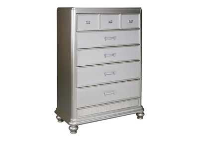Coralayne Silver Five Drawer Chest,Signature Design By Ashley