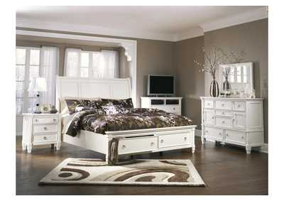 Prentice White California King Storage Sleigh Bed, Dresser & Mirror