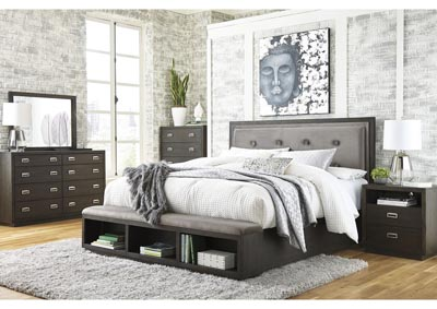 Image for Hyndell California King Upholstered Panel Bed with Storage, Dresser and Mirror