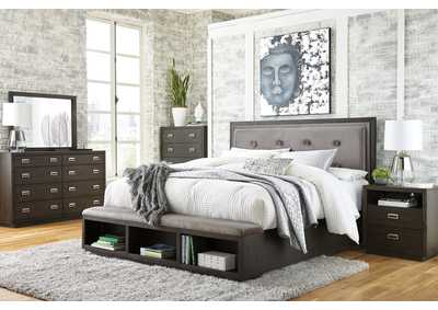 Image for Hyndell Queen Upholstered Panel Bed with Storage, Dresser and Mirror