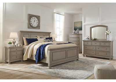 Lettner Light Gray California King Panel Bed w/Dresser and Mirror