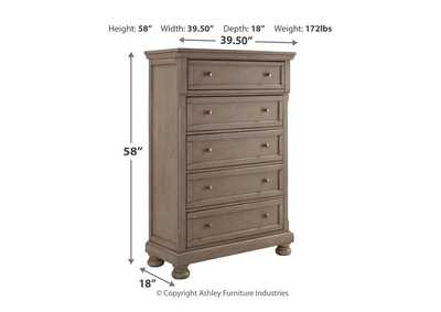 Lettner Light Gray Five Drawer Chest,Signature Design By Ashley