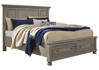 Lettner Light Gray California King Panel Storage Bed
