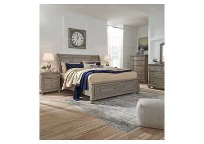 Lettner Light Gray King Sleigh Storage Bed w/Dresser and Mirror,Signature Design By Ashley