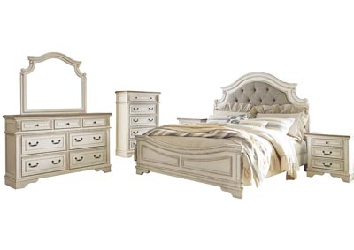Realyn Chipped White California King Panel Bed and Dresser w/Mirror