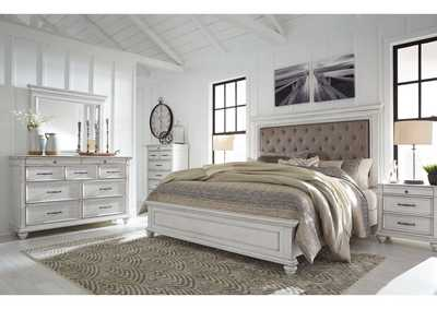 Kanwyn Whitewash King Panel Upholstered Bed w/Dresser & Mirror,Benchcraft
