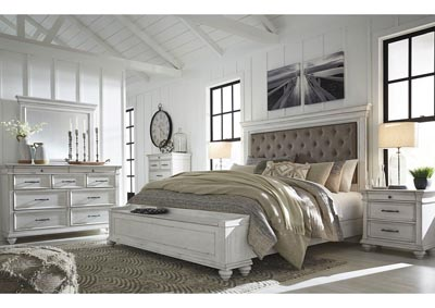 Image for Kanwyn Whitewash California King Upholstered Storage Bed w/Dresser and Mirror
