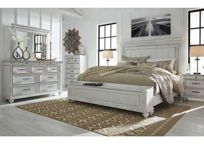 Kanwyn Whitewash California King Panel Storage Bed w/Dresser & Mirror