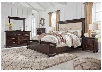 Brynhurst Brown King Upholstered Storage Bed Dresser w/Mirror