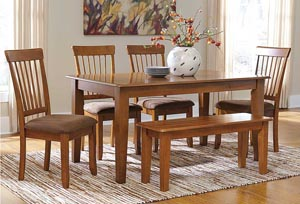 Berringer Rectangular Dining Room Table w/ 4 Chairs & Bench