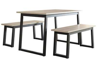 Waylowe Two-Tone Dining Table and Benches (Set of 3)