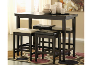 Image for Kimonte Rectangular Counter Height Table w/2 Ivory & 2 Dark Brown Barstools