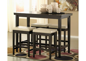Image for Kimonte Rectangular Counter Height Table w/4 Ivory Barstools