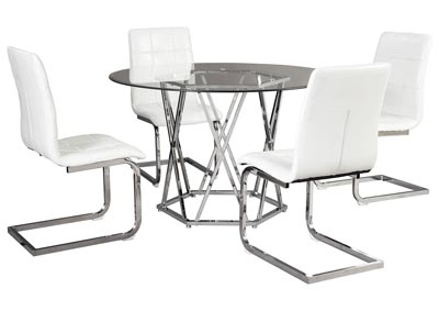 Madanere White/Chrome Round Dining Room Sets