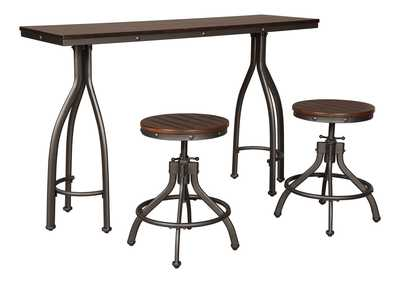 Odium Rustic Brown Rectangular Counter Table w/2 Stools